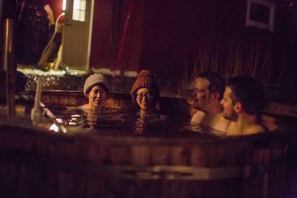 The norwegian, log burning hot tub.