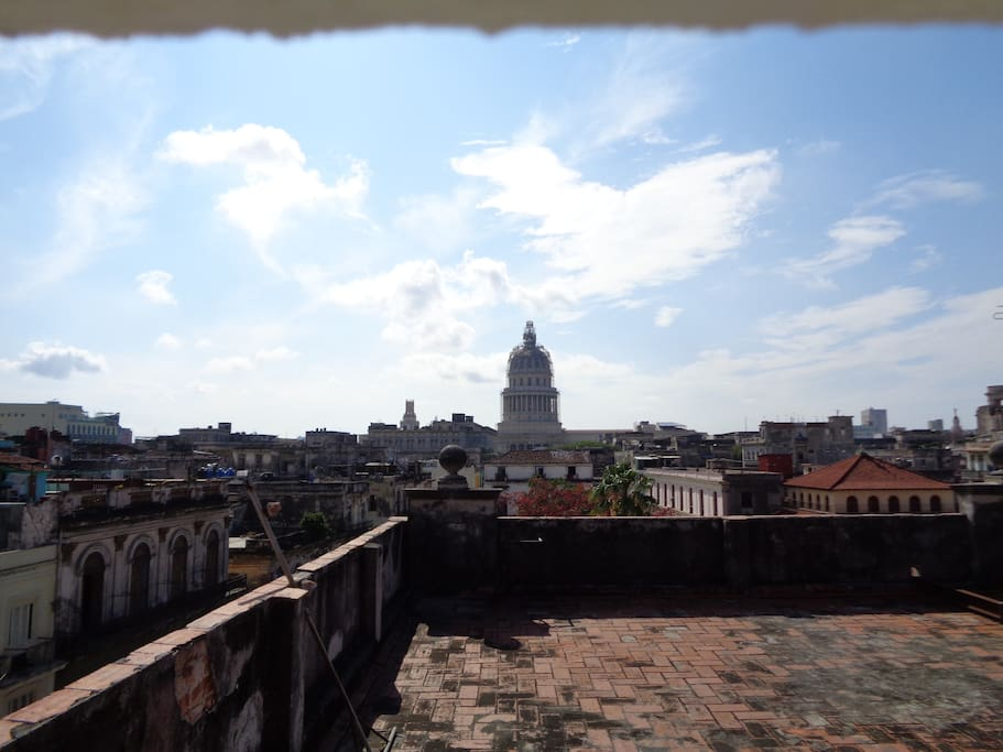 Wonderful view of the Capitolio and all of Old Havana from the big terrace