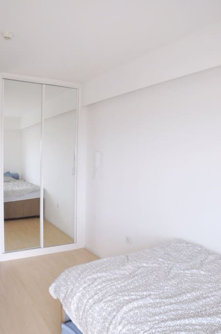 storage area with big mirror