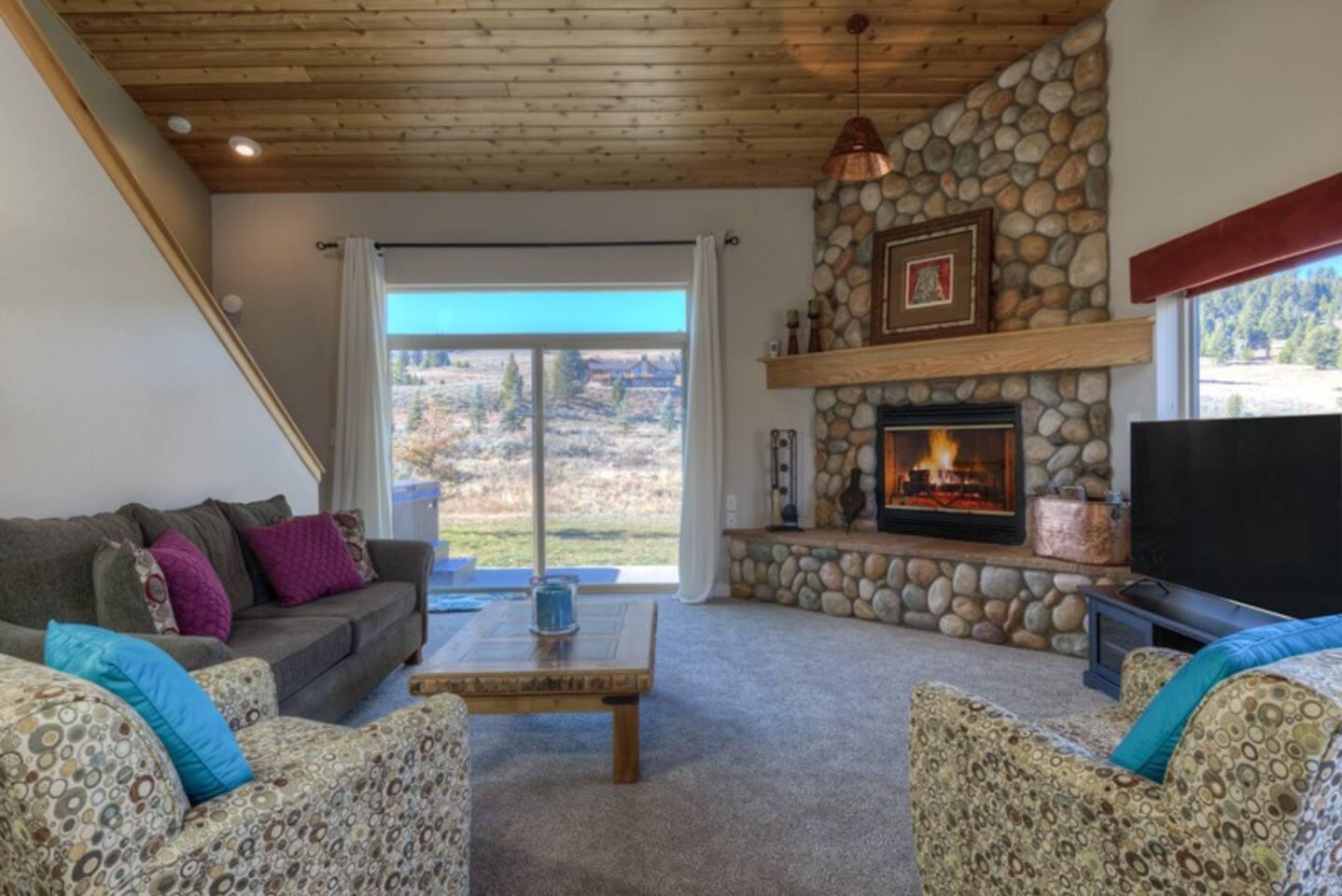 Main living area- wood burning fireplace