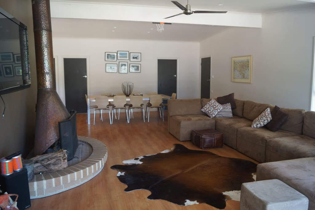 Large open plan family living including open fire