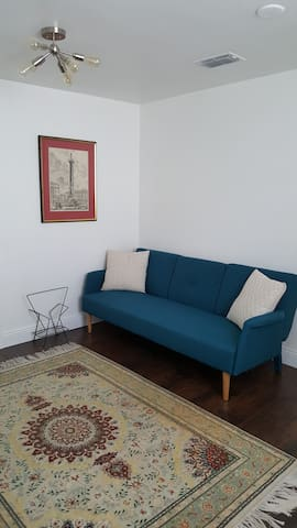 Twin Sleeper Sofa in Common Room (Bed Sheets and Pillows in Closet)