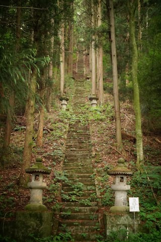 365 rapidly steps to a small shrine in forest/妙義神社への365段の階段