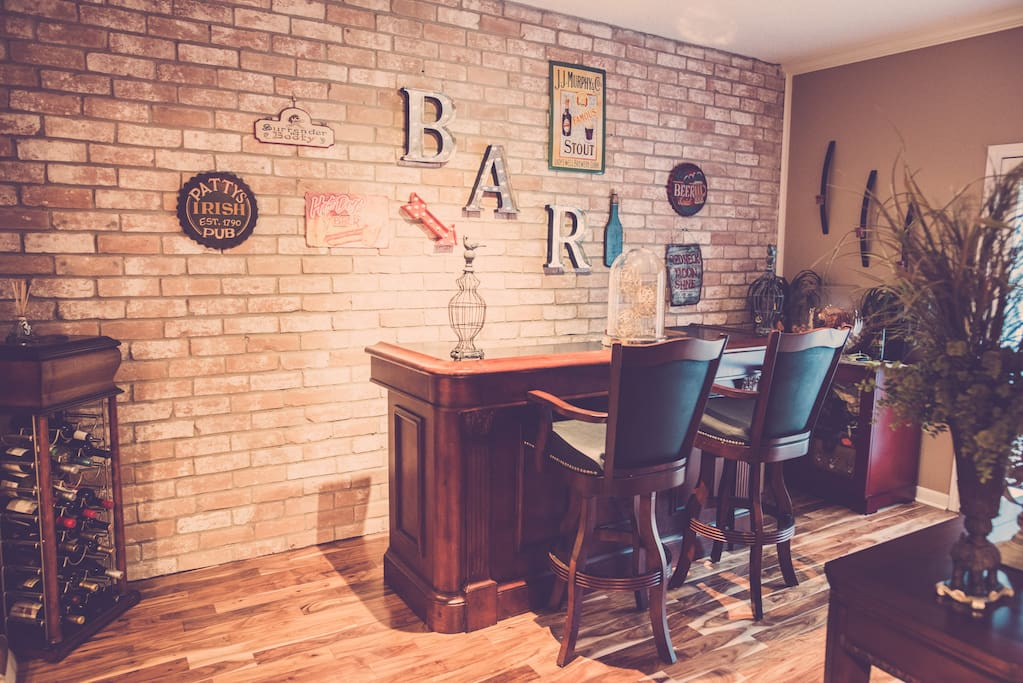 Bar view with exposed brick wall