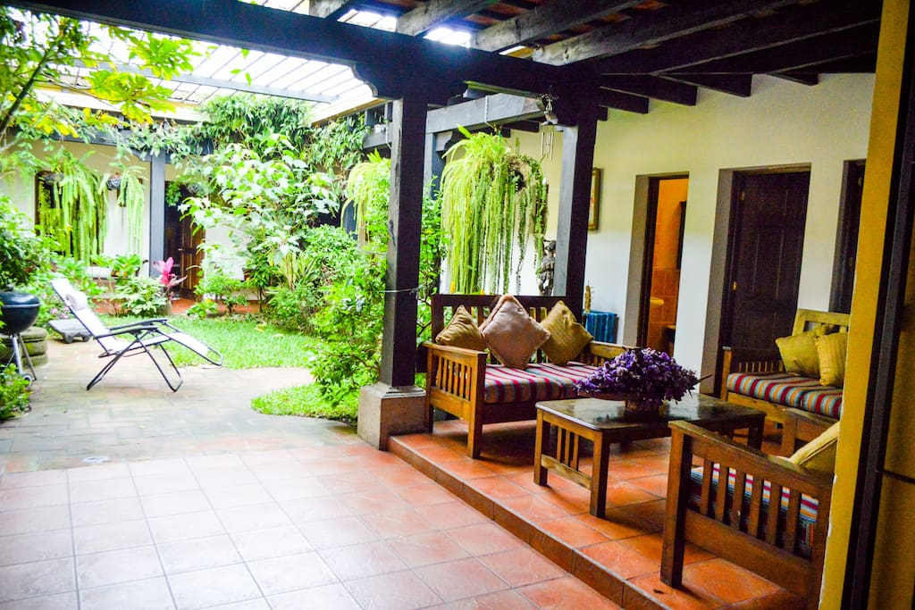 Outside living room, there you can hang out and look at the private courtyard. Good Wi-Fi signal