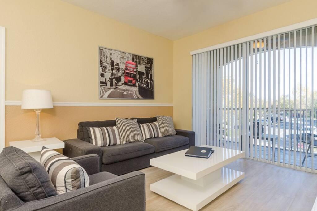 Updated Luxury Living Room with Beautiful Hard Wood Floors