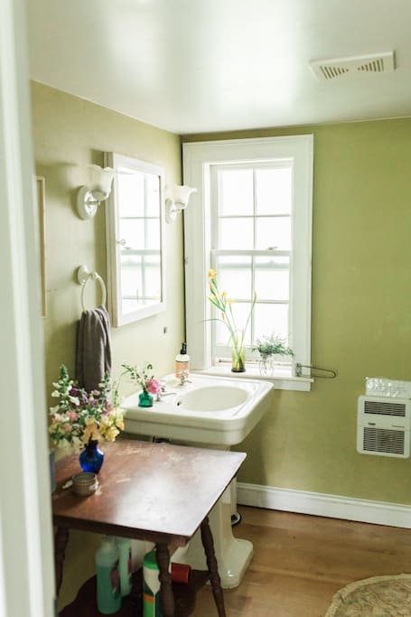 Guest bathroom, which also includes a clawfoot bathtub and shower. This bathroom is only shared when there are guests in our other Airbnb room. Jeff & Michele Fine Art Wedding Photographers