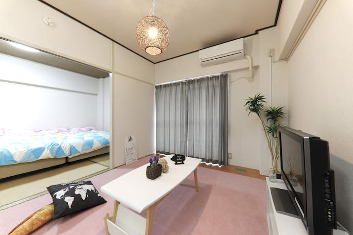 2 semi-double beds♪8min from the station♪Wifi Free