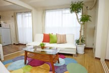 Living area:The sunlight enters at a window.