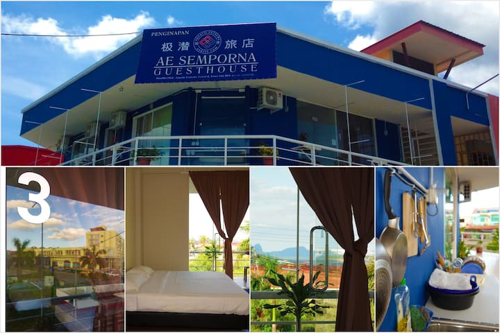 AE Semporna Guesthouse Budget 4 Person Room