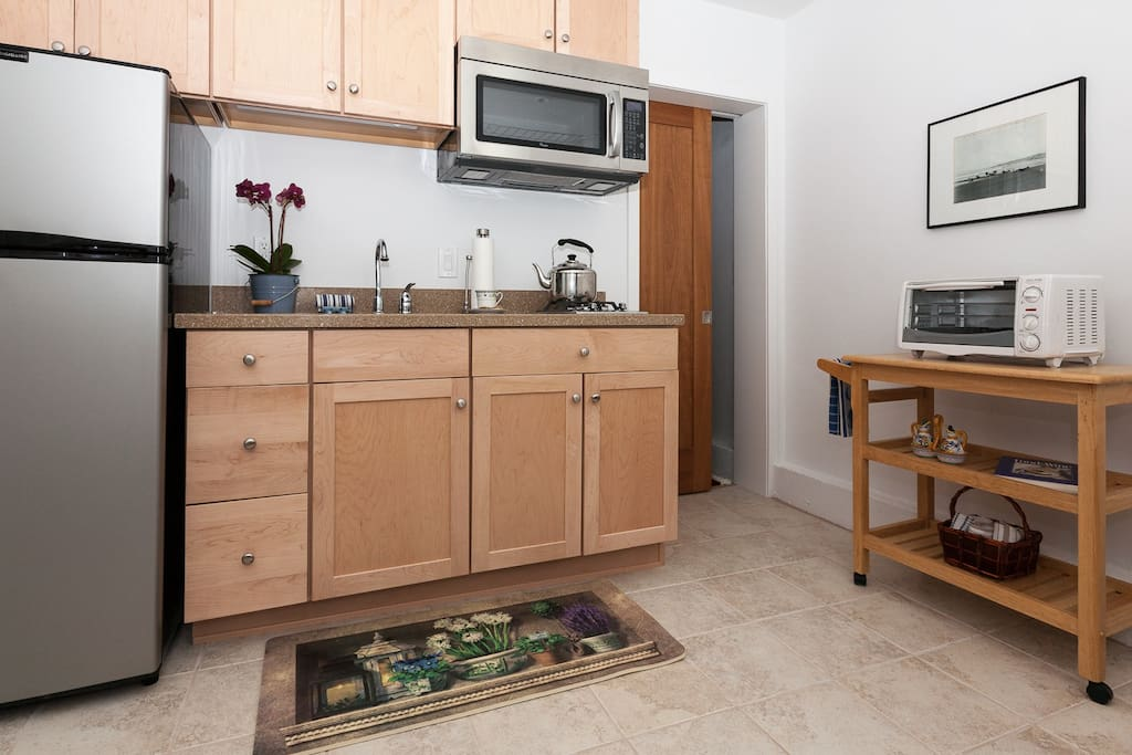 Newly remolded, well equipped kitchen for extended stays.