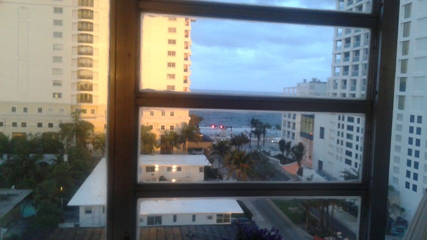 Ocean view from the window at Dusk