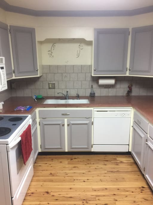 Full kitchen with Keurig, k-cups, waffle maker and toaster