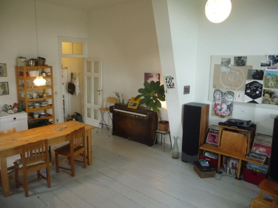 Piano and sound system in the living room/kitchen