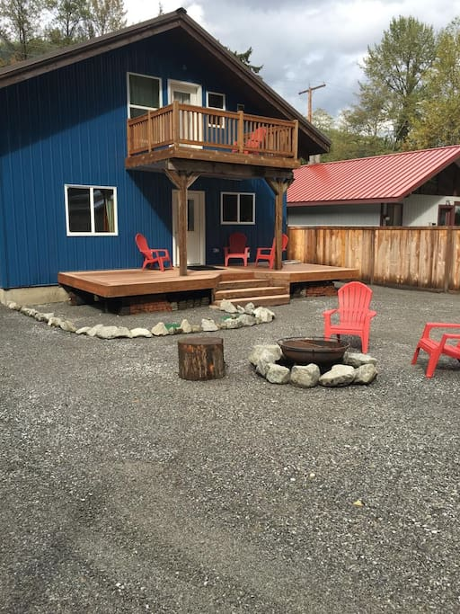 Back yard deck and fire pit