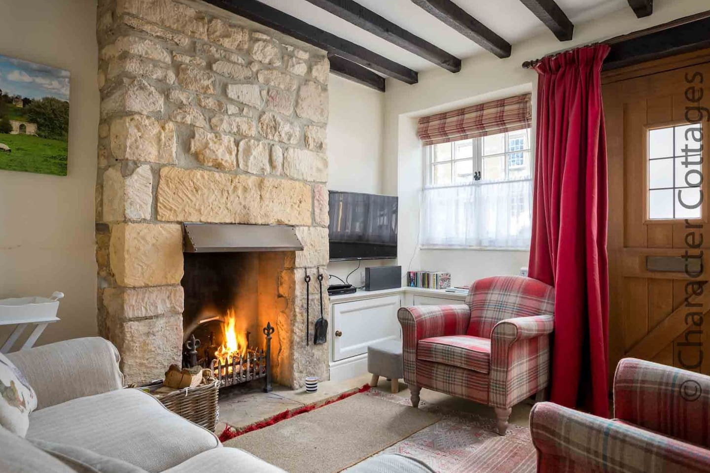 Stylish living room, with roaring open fire