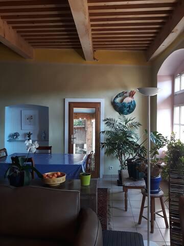 séjour, coin repas et accès terrasse
