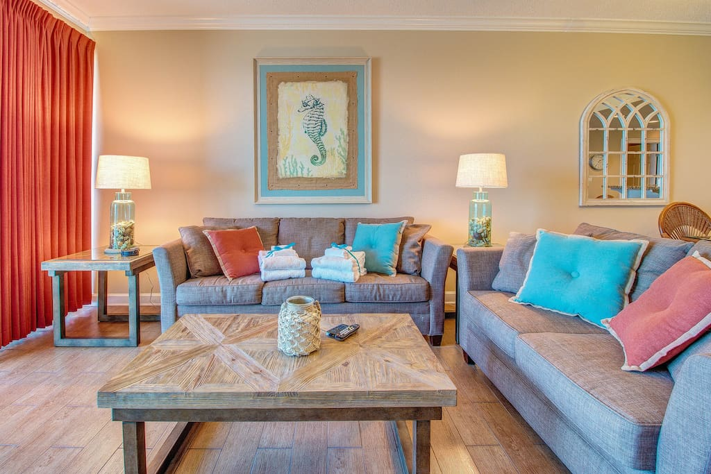 Elegant furnishings abound throughout this two bedroom two bath beachfront condo