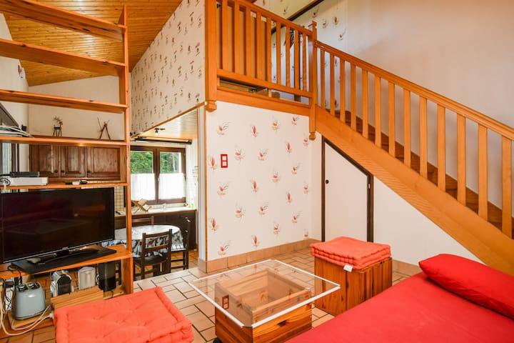 Votre coin salon (avec placard sous l'escalier). En contre bas la cuisine et en haut de l'escalier la chambre. Crédit Photo Christine Haas