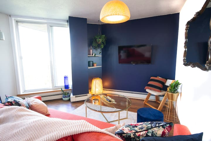 """Enjoy the private balcony on a sunny day. If it's raining (which we are known to get a lot of!) binge your favourite Netflix shows on the 43"""" Smart TV."""