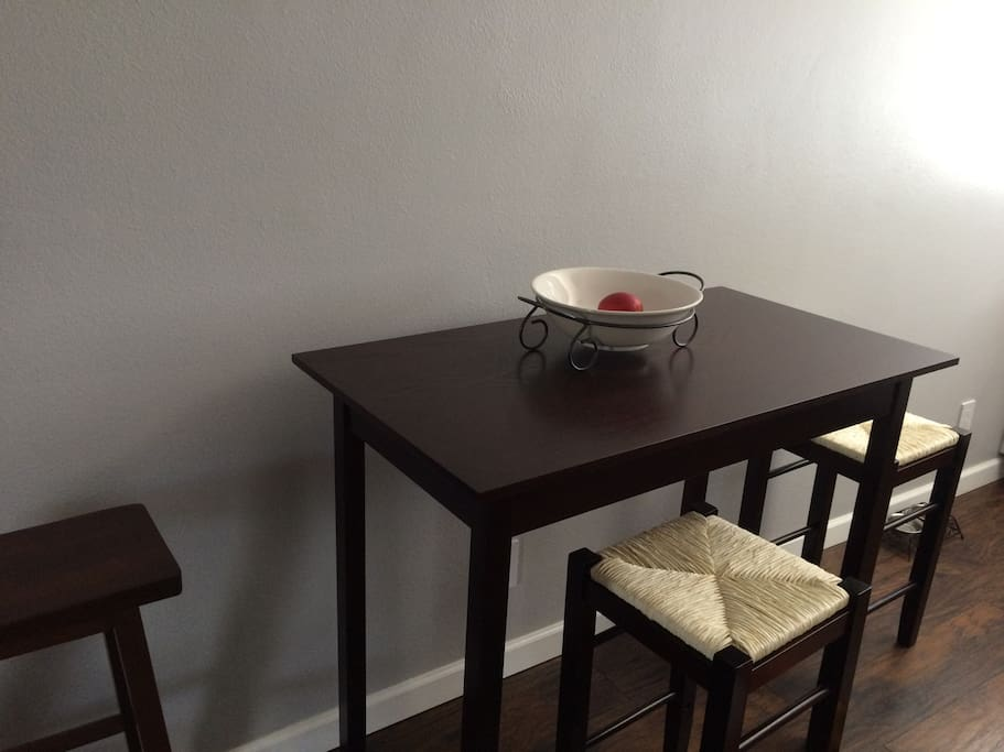 Small dinning room table to eat meals at.