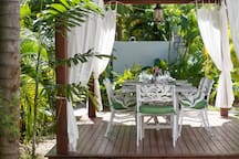 Enjoy outdoor dining under the gazebo