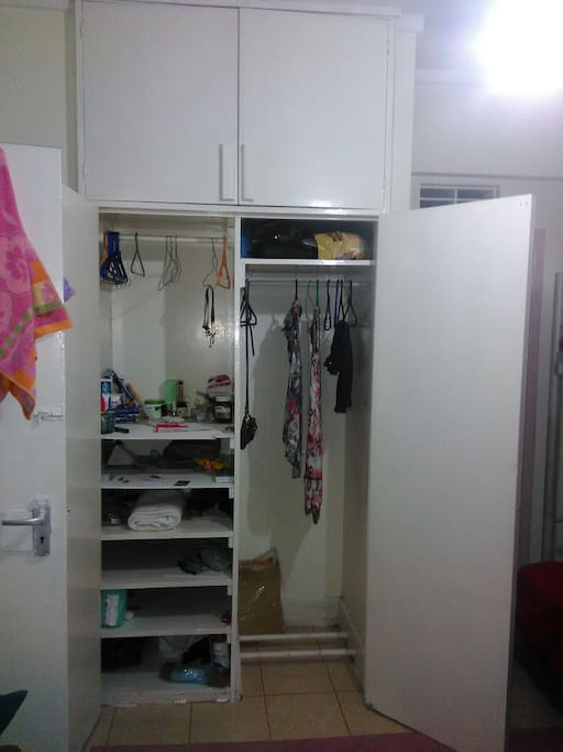 cabinets  cloth shelves