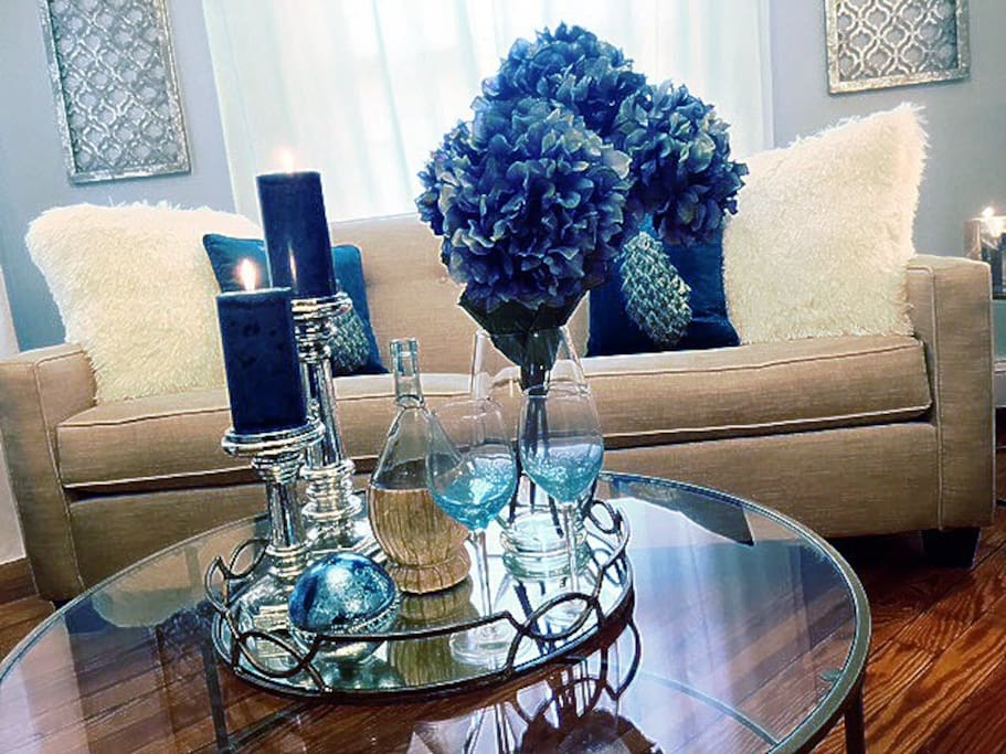 Living Room Center table and Queen Sofa beds with Plush pillows
