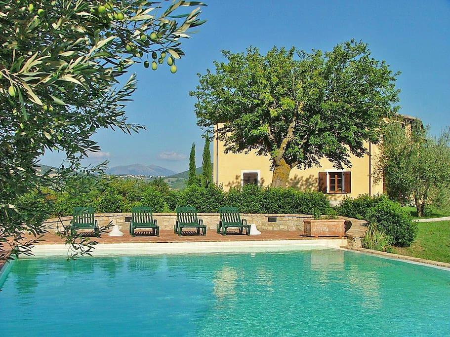 Vista del giardino, della piscina e dell'agriturismo Castagna Alta Valfabbrica non distante da Assisi