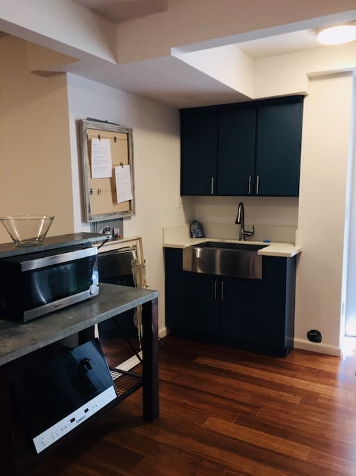 stovetop, counter oven, microwave