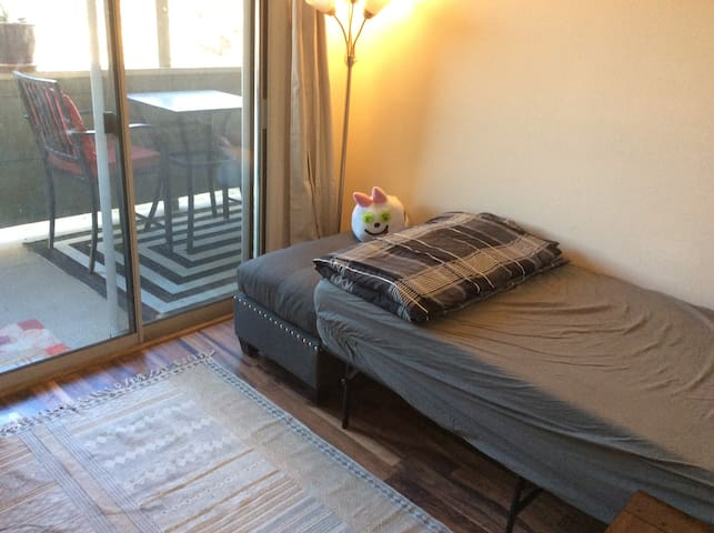 Private bedroom with balcony, use of full condo.