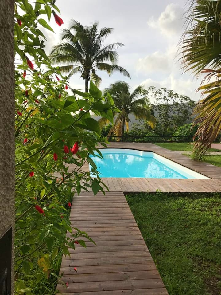 Villa with 3 bedrooms in Case-Pilote, with wonderful sea view, private pool, enclosed garden - 3 km from the beach