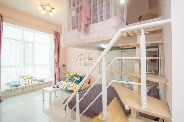枫叶~星海海边广场loft公寓四人房会展地铁圣亚海洋世界森林公园