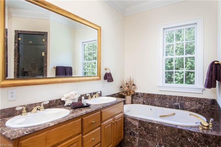 Riverview Bedroom's private bathroom, features walk-in shower and Jacuzzi tub.