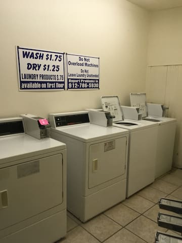 Coin operated Laundry at the end of the hall