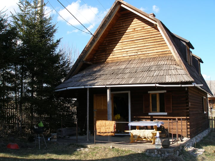 Comfortable, wooden cabin with a beautiful view