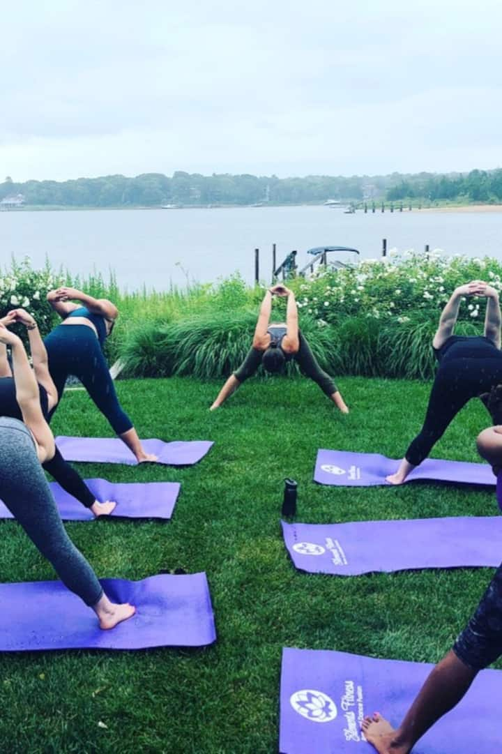 Group yoga class in the rain!