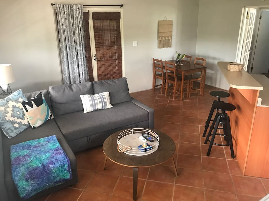 Family room/kitchen/dining area