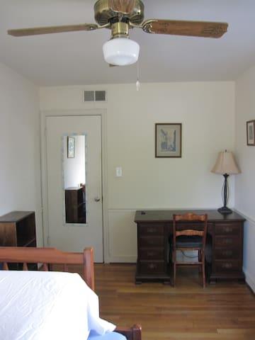 Writing desk, lamp, small bookshelf, mirror.