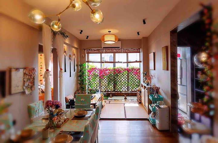 火车东站素怡民宿有暖气(可长短租,价格优惠)日式榻榻米禅意庭院度假电梯2房2厅公寓/可免费提供和服