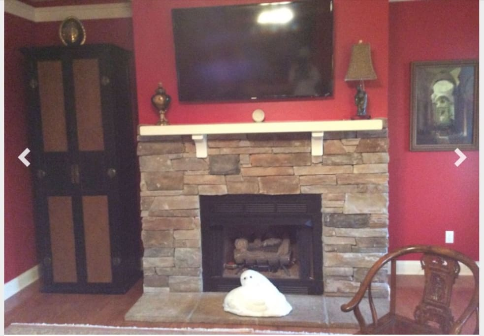Fireplace and large tv