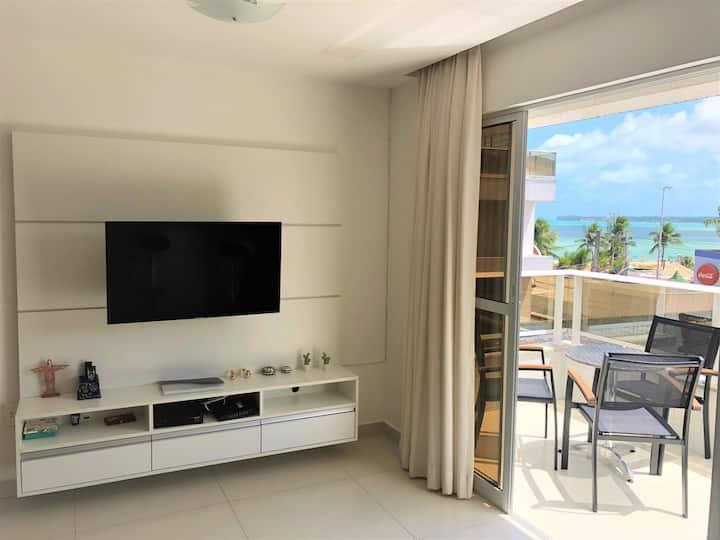 Apartamento Tambau a Beira Mar 313 - Varanda e Vista para o Mar