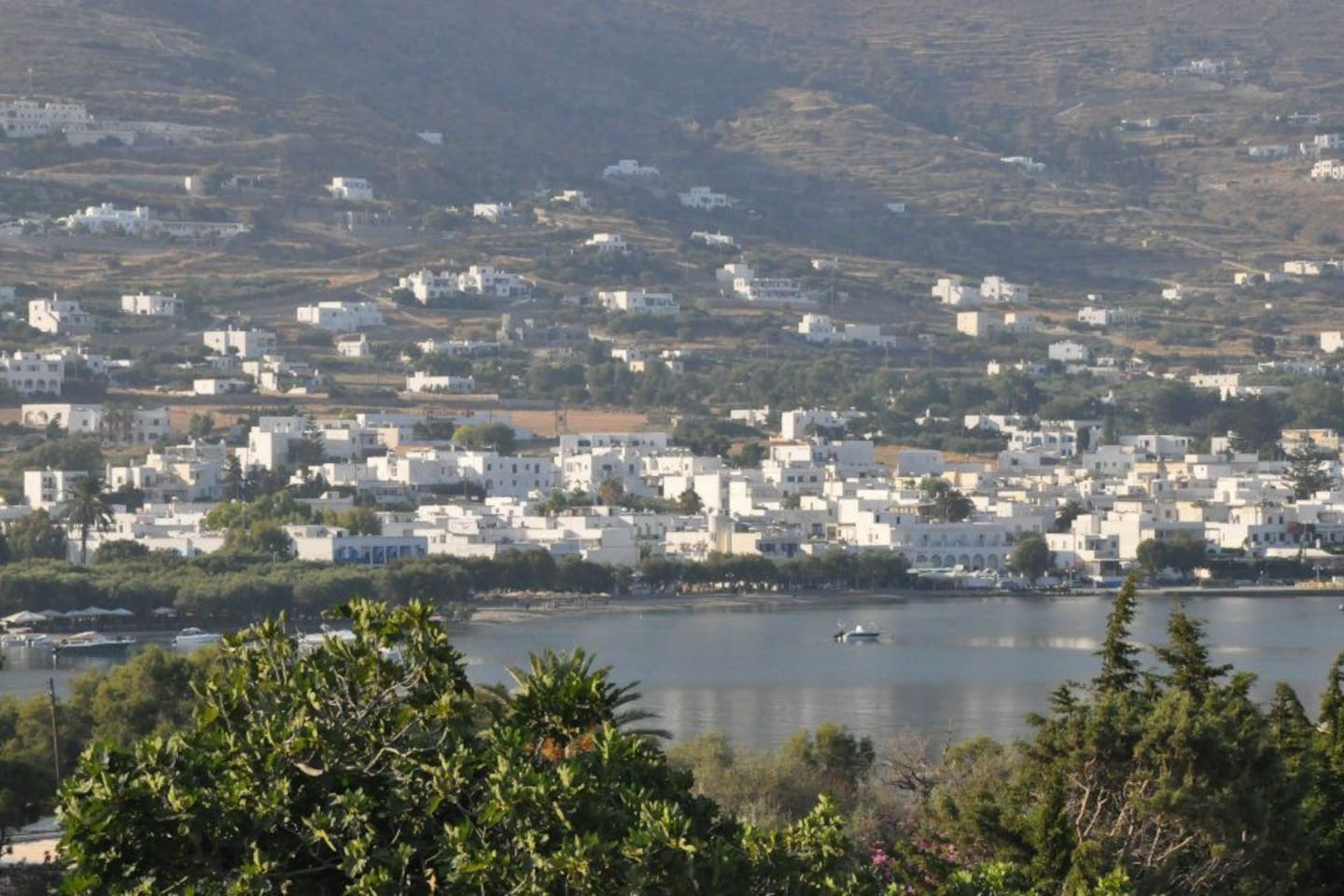 View to the port from Paros Eden Park