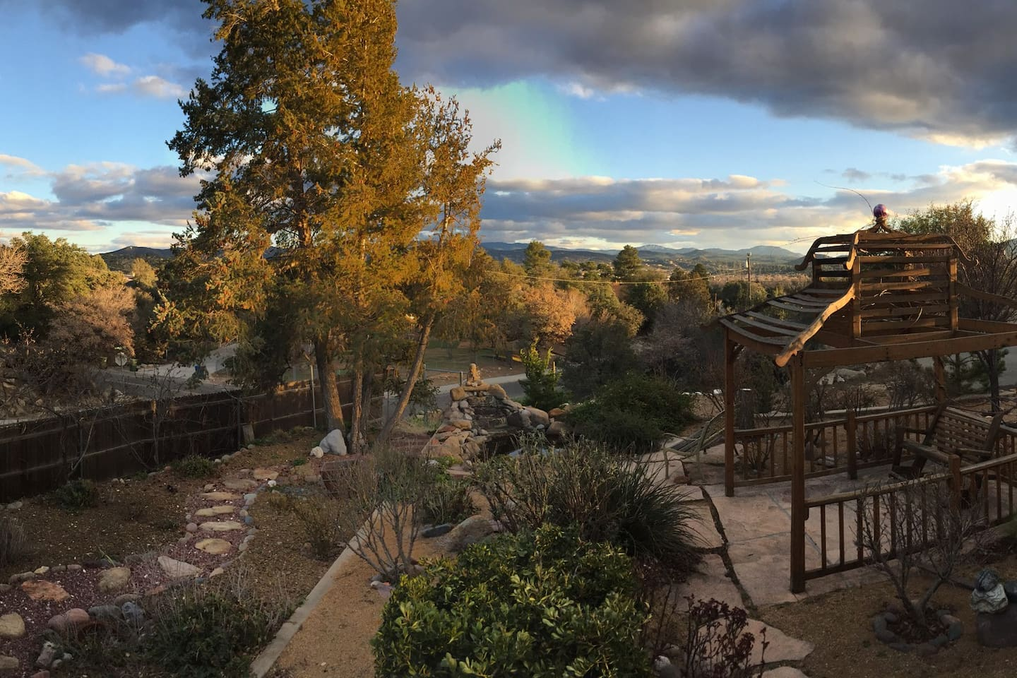 Autumn panoramic view from front of house.