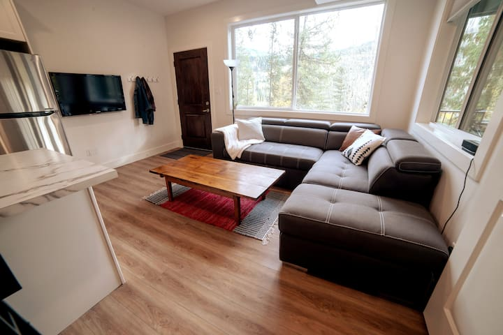 Comfortable living area with full sectional  sleeper bed- perfect for a family vacation!
