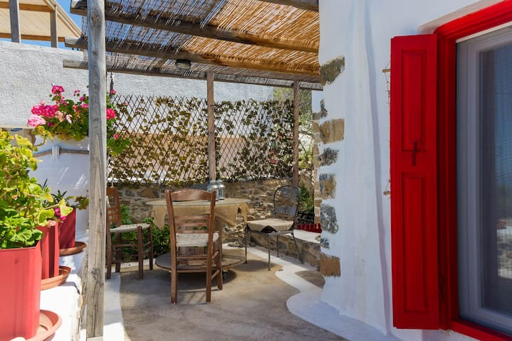 The terrace offers sun protection and privacy