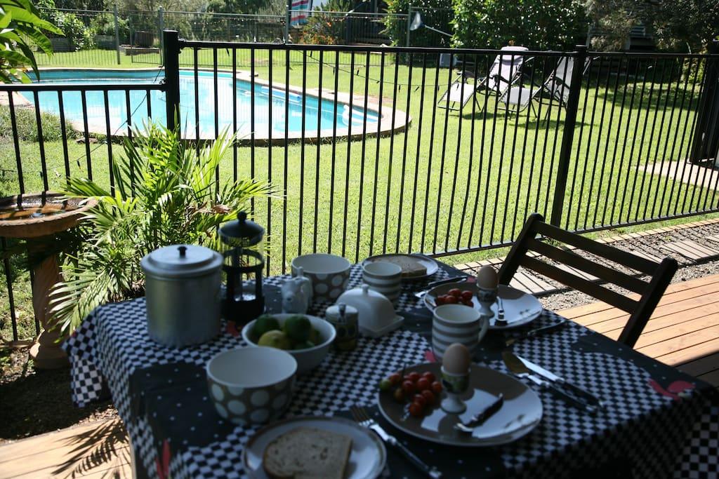 Breakfast overlooking the pool