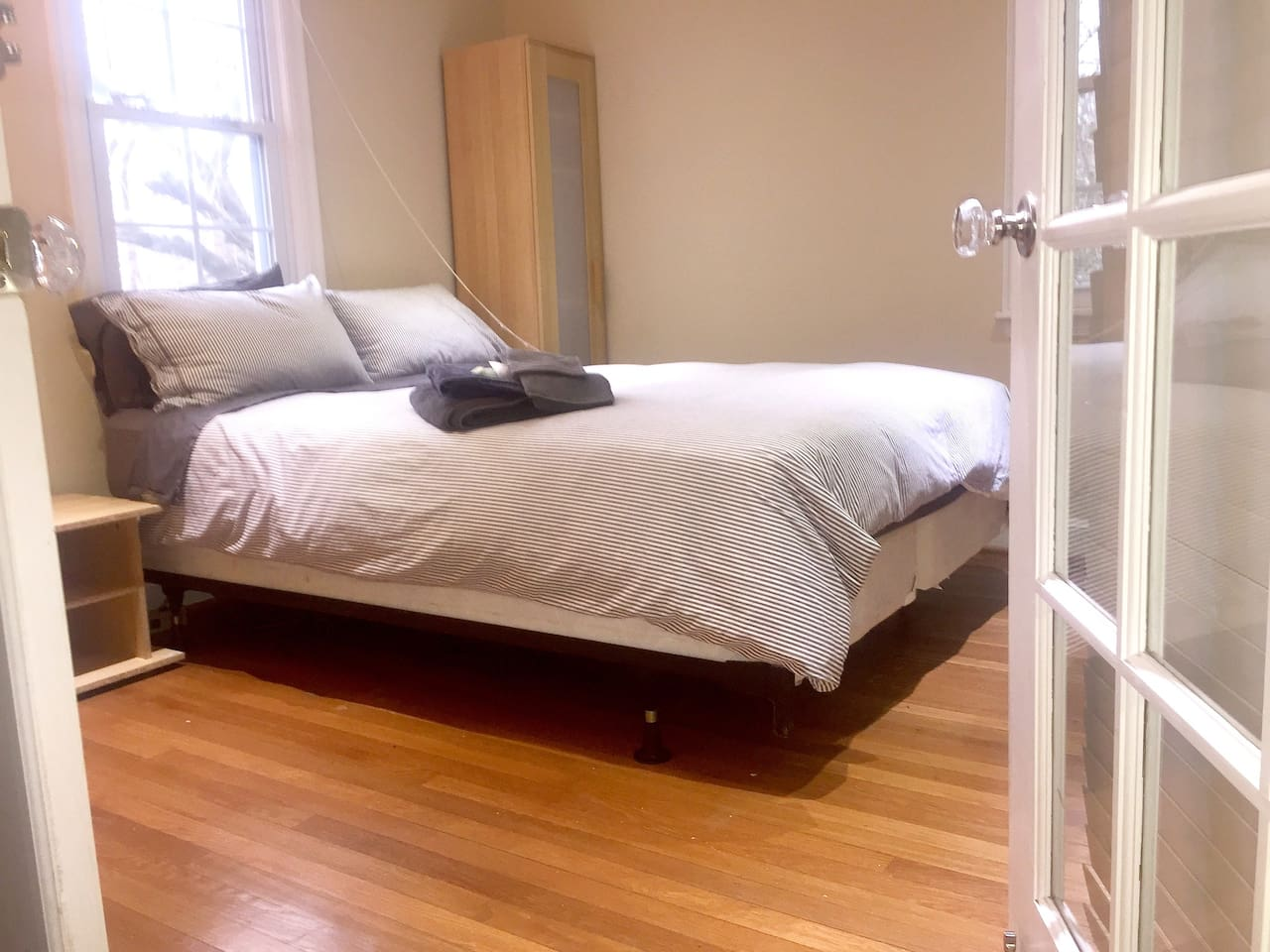 Spacious Bedroom Layout w/ locking French Doors