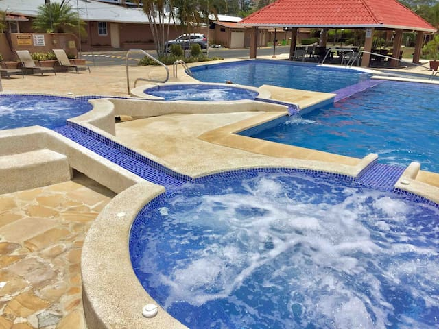 Enjoy the jacuzzis and pools during your visit in our condo.