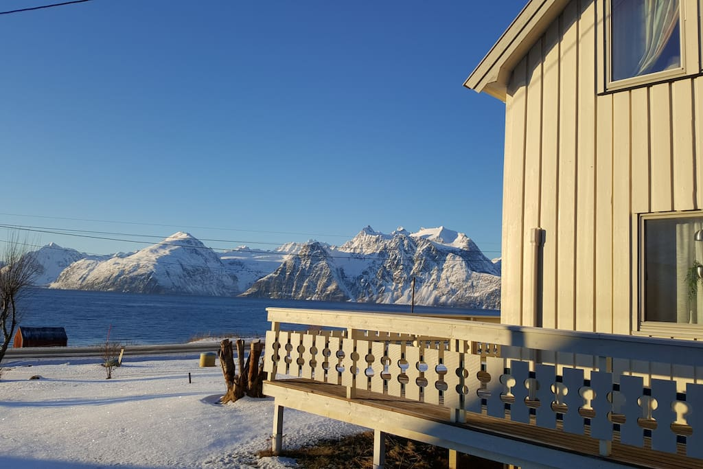 The view from the house over the Lyngen fjorden and the Lyngen Alps.